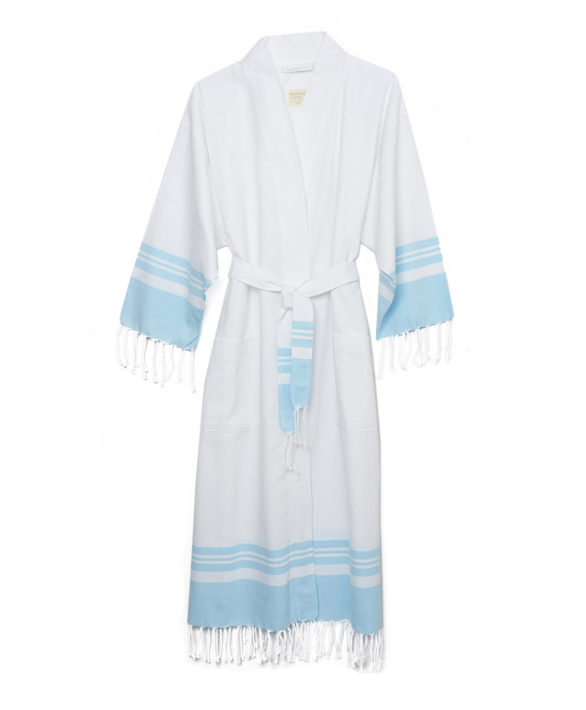 White And Blue Cotton Peshtemal Robe