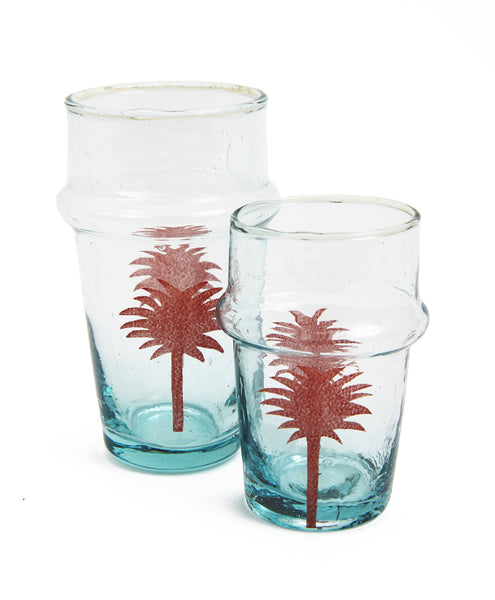 Red Handpainted Large Palm Tree Glass Set