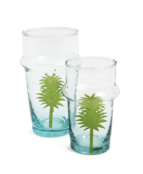 Green Handpainted Large Palm Tree Glass Set