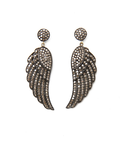 Sterling Silver And Diamond Angel Wing Earrings