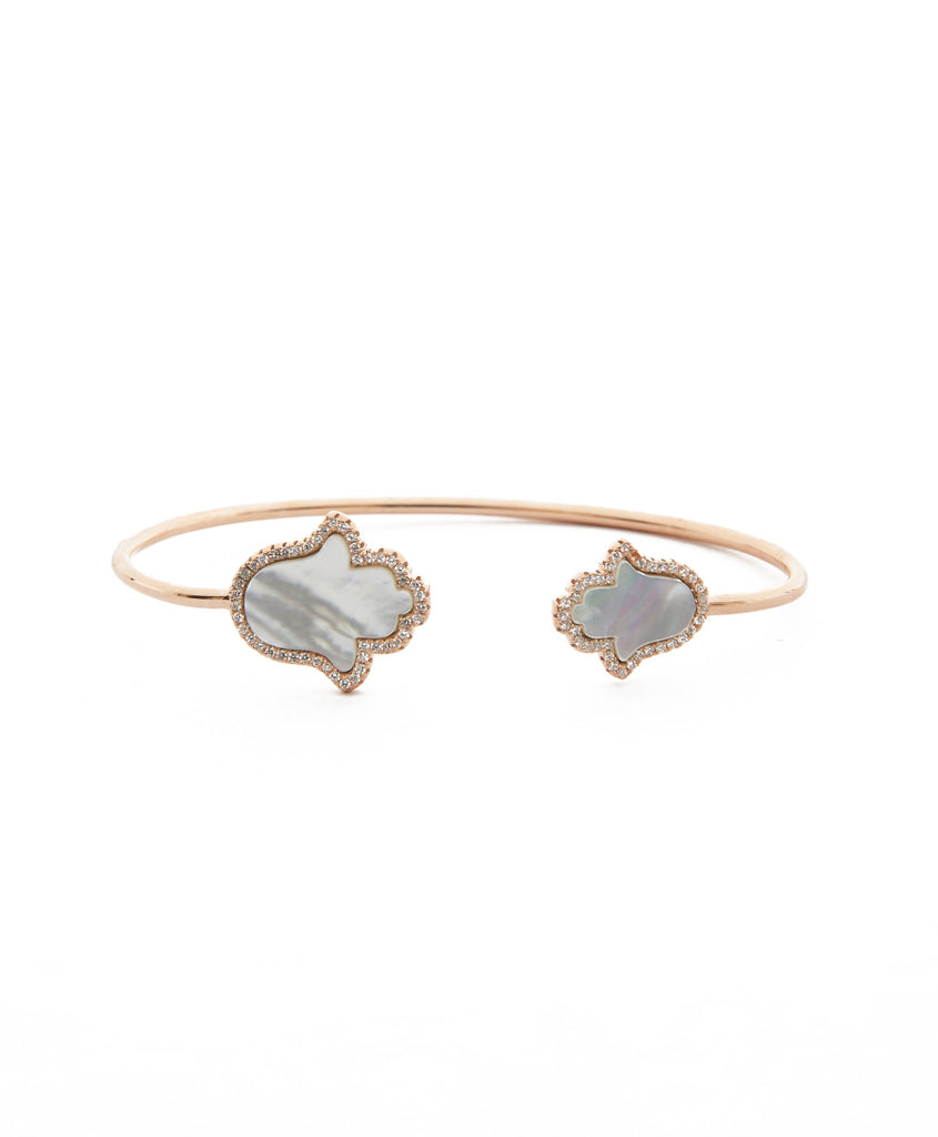 SHOP LATITUDE BAZAAR ISTANBUL, Rose Gold And Plated Silver Double Mother of Pearl Hamsa Bracelet