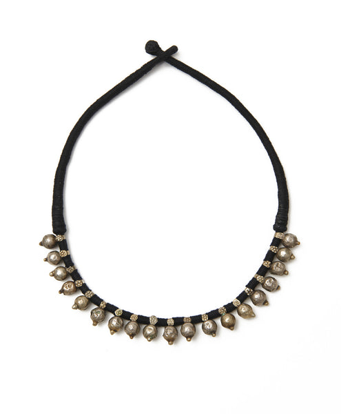 Black Cotton Bandaru Long Necklace
