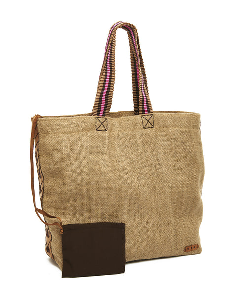 Fuchsia Trim Medium Burlap Tote