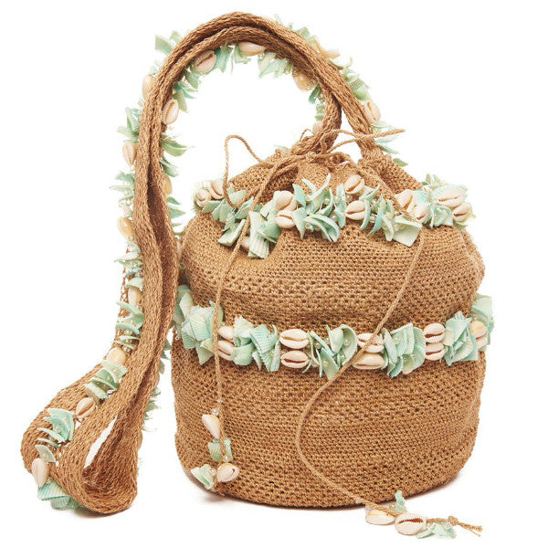 Tan And Seafoam Shell Mochila Bag