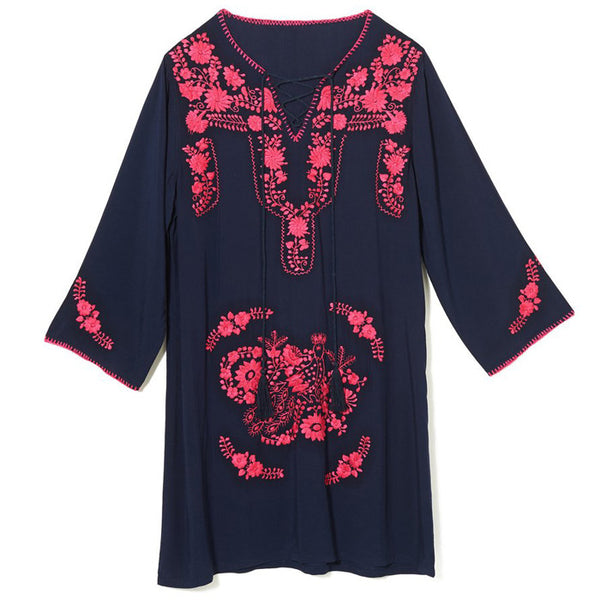 Navy & Fuchsia Rayon Mexican Embroidered Tunic Dress