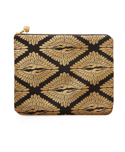 Black And Gold Silk Hanna iPad Clutch