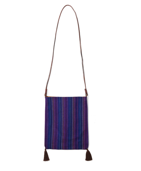 Indigo Pinstripe Wool Should Tassel Bag
