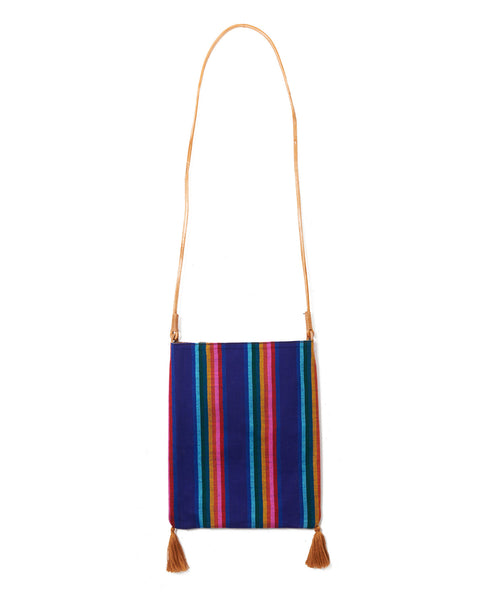 Indigo Bold Pinstripe Wool Shoulder Tassel Bag