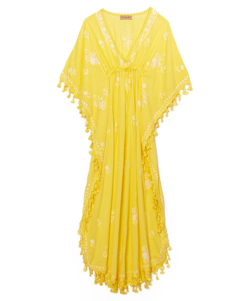Yellow Cotton Tassel Caftan