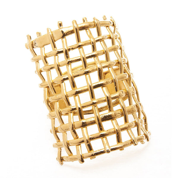 24K Gold Dipped Brass Large Tejido Cuff Bracelet
