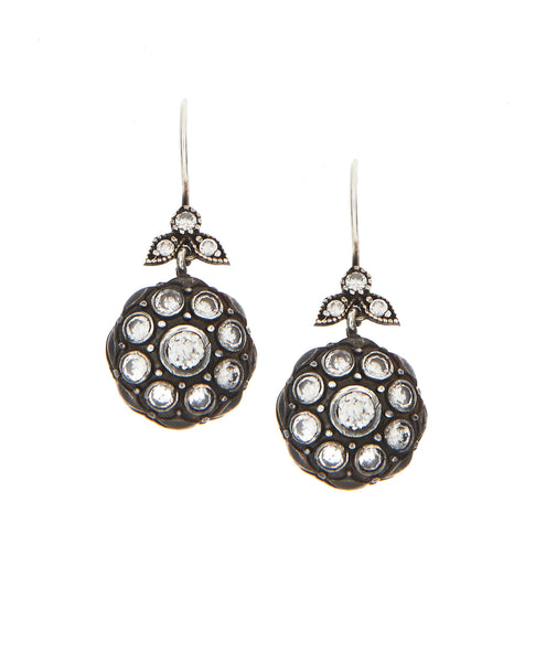 SHOP LATITUDE BAZAAR ISTANBUL, Silver And Base Metal Crystal Flower Drop Earrings