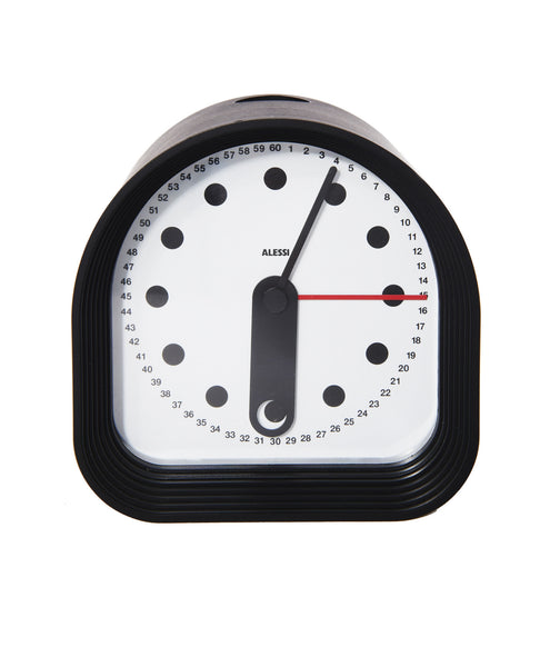Black Alberto Alessi Table Alarm Clock