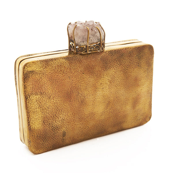 Brass Antique Raya Stone Clutch