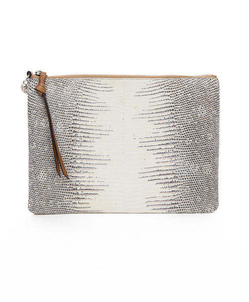 Cream And Grey Leather All Night All Day Zip Clutch