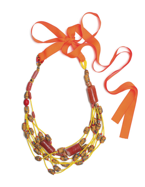 Guidemore Red & Yellow Beaded Necklace