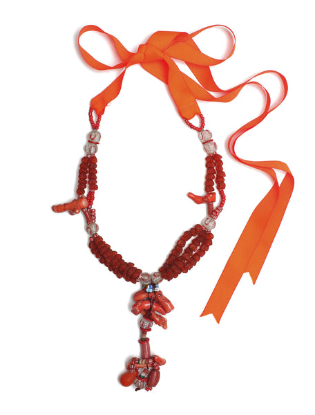 Guidemore Coral and Glass Beaded Necklace