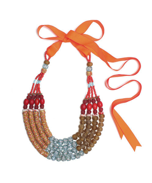 Guidemore Tan and Red Beaded Necklace