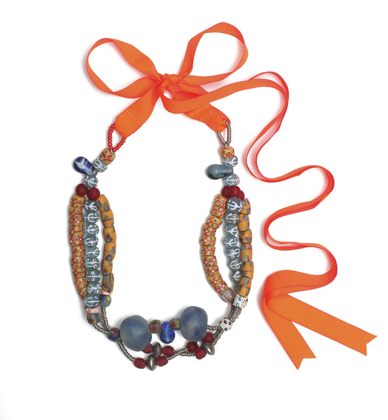Guidemore Blue and Orange Beaded Necklace