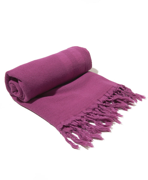 Mauve Cotton And Linen Blend Turkish Peshtemal Towel