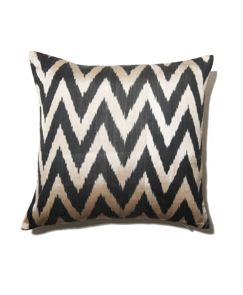 Black Zig Zag Cotton Silk Ikat Pillow