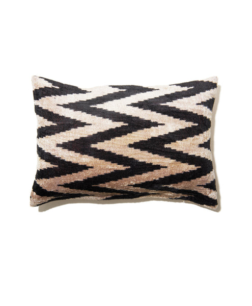 Black Velvet Ikat Zig Zag Pillow Cover