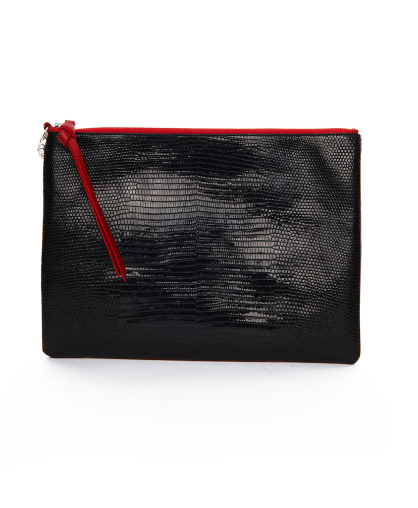 Red And Black Leather All Night All Day Zip Clutch