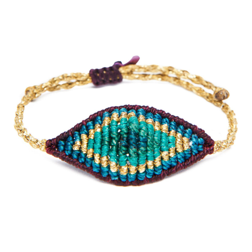 Aqua Multi Thread All Seeing Eye Bracelet