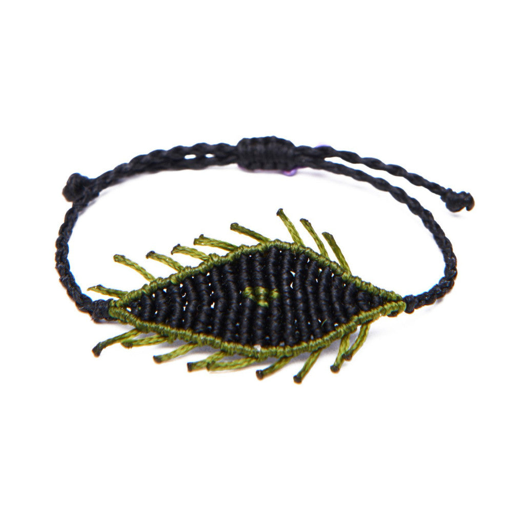 Black Green Thread All Seeing Eyelash Bracelet