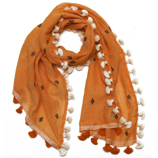 Orange Cotton Embroidered Mahi Mini Pom Pom Scarf