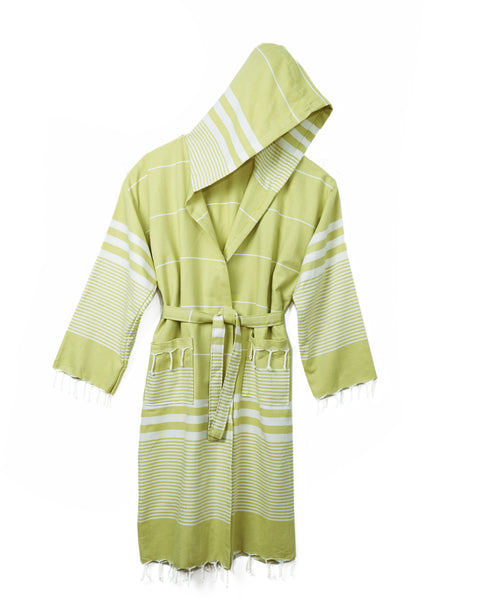 Lime Stripe Cotton Peshtemal Hooded Robe