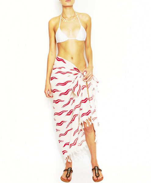 Red And White Linen Waves Print Scarf & Sarong