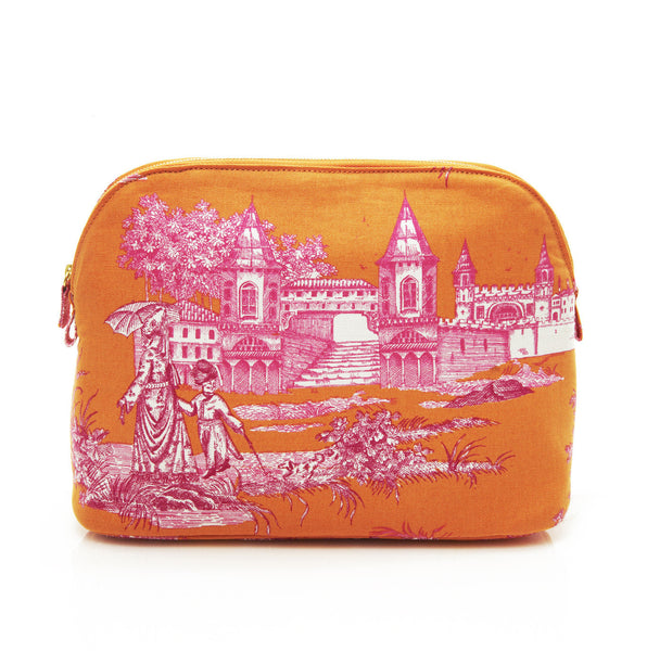 Orange And Pink Haremlique Large Toile Makeup Bag