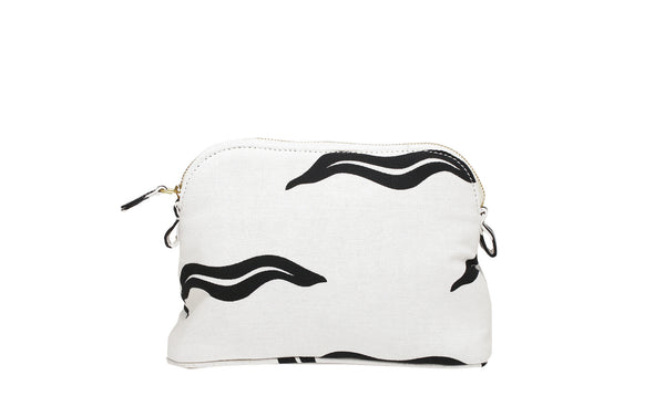 White And Black Haremlique Small Wave Makeup Bag