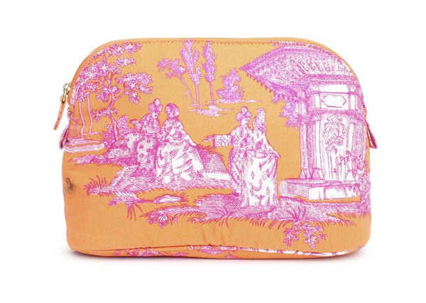 Orange And Pink Haremlique Medium Toile Makeup Bag