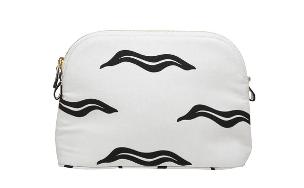 White And Black Haremlique Medium Wave Makeup Bag