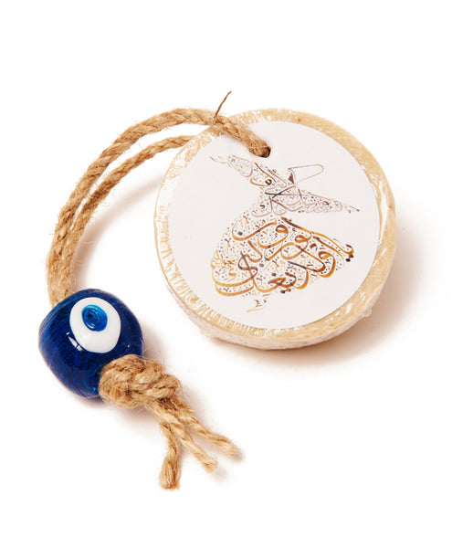 Blue Olive Oil Evil Eye Round Soap