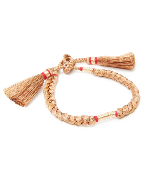 HONORINE JEWELS, Beige Braided Tassel Gold Metal Tie Bracelet