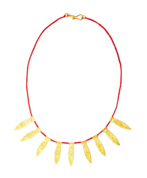 Gold-Plated Red Spike Byzantine Necklace