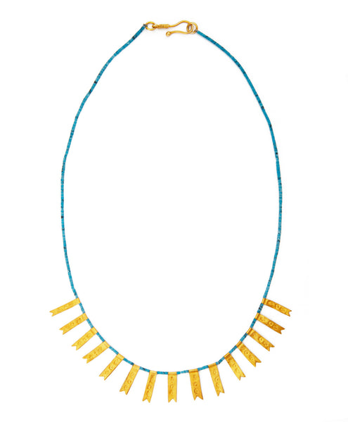 SHOP LATITUDE BAZAAR ISTANBUL, Gold-Plated Turquoise Spike Byzantine Necklace