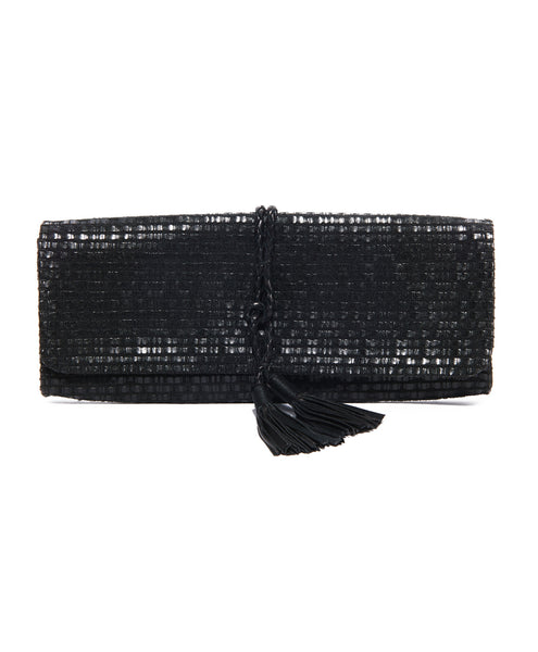 Black Leather Cotton Woven Tassel Clutch