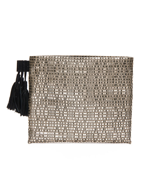 Gold Leather Cotton Woven Tassel Pouch
