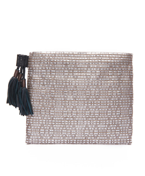 Silver Leather Cotton Woven Tassel Pouch