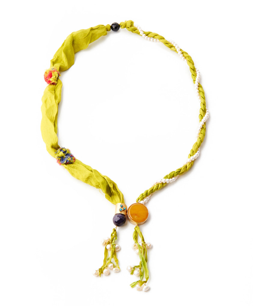 Lime Silk & Yellow Agate Necklace