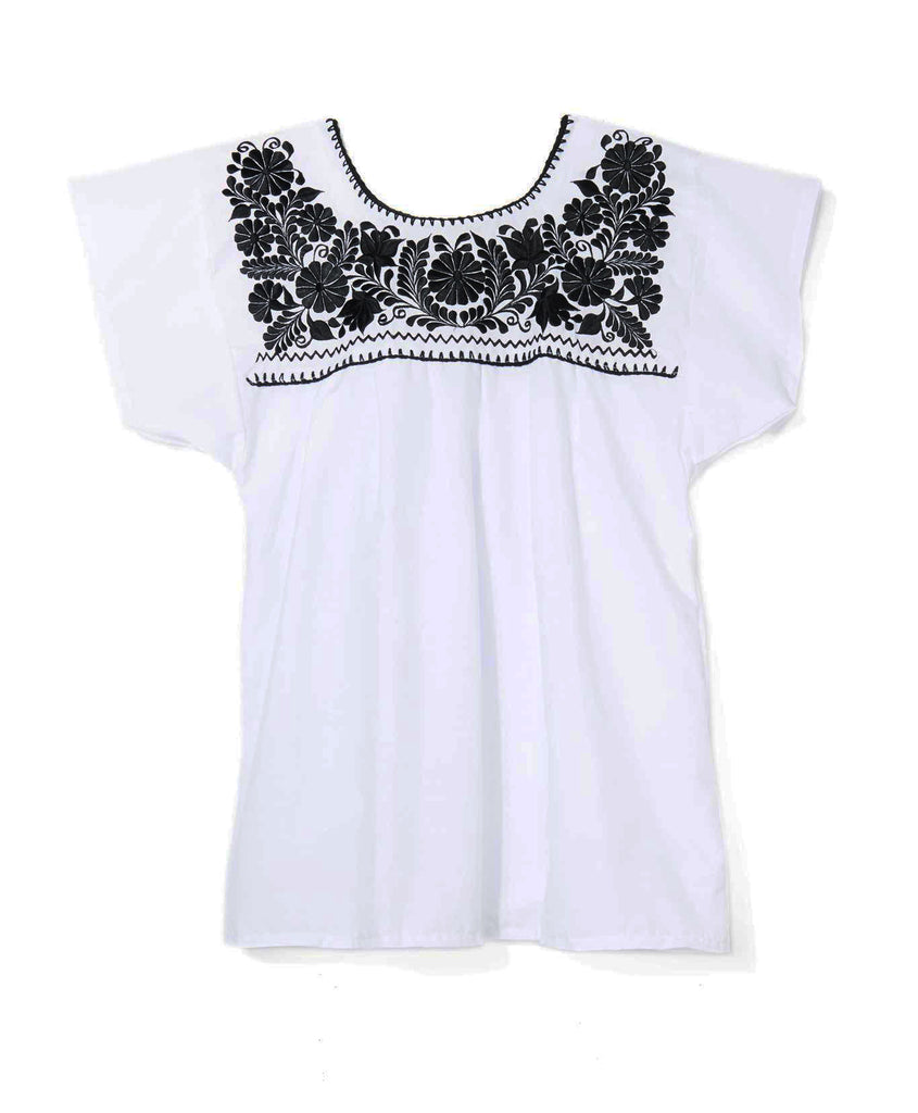 White Floral Mexican Embroidered Blouse