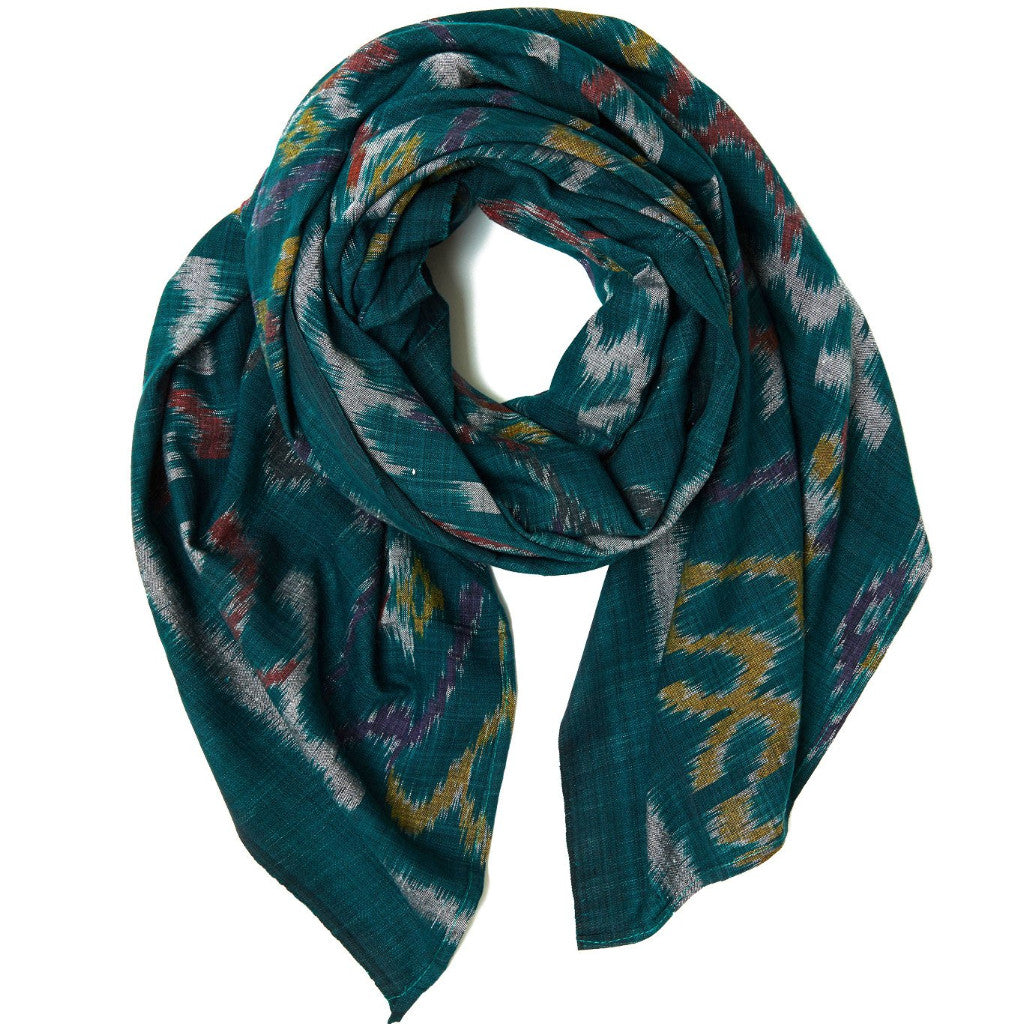 Forest Green Cotton Ikat Scarf & Sarong