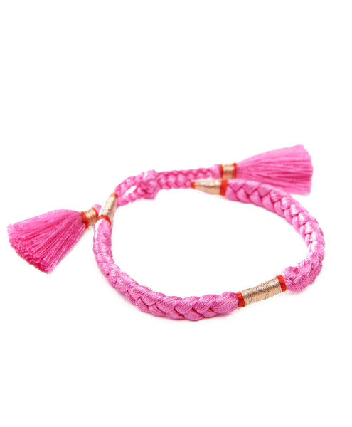 HONORINE JEWELS, Pink Braided Tassel Bracelets