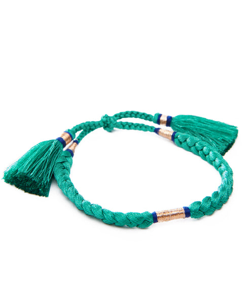 HONORINE JEWELS, Green Braided Tassel Bracelets