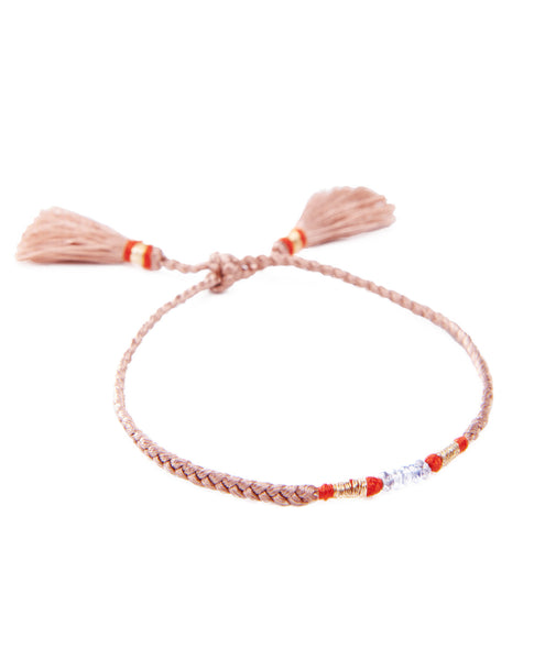 HONORINE JEWELS, Beige Braided Tassel Fluo Bracelet