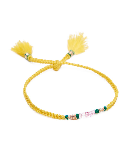 HONORINE JEWELS, Yellow Braided Tassel Fluo Bracelet