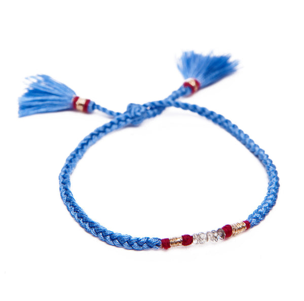 HONORINE JEWELS, Blue Braided Tassel Fluo Bracelet